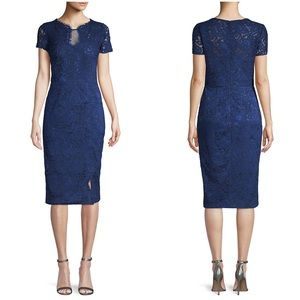 NWT JS Collections Navy Blue Lace Sheath Dress